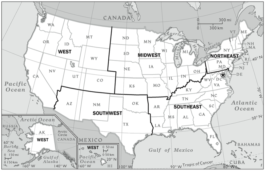 united-states-regions-map - Online Christian Colleges